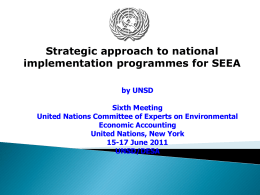 Strategic approach to national implementation programmes for SEEA