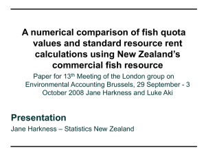 A numerical comparison of fish quota values and standard resource rent