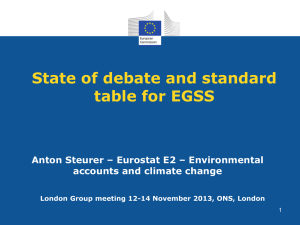 State of debate and standard table for EGSS accounts and climate change