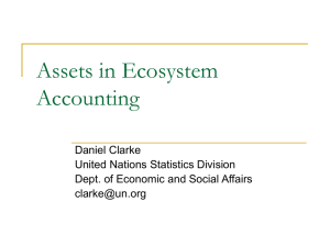 Assets in Ecosystem Accounting Daniel Clarke United Nations Statistics Division