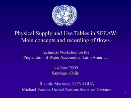 Physical Supply and Use Tables in SEEAW: Technical Workshop on the