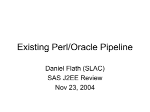 Existing Perl/Oracle Pipeline Daniel Flath (SLAC) SAS J2EE Review Nov 23, 2004