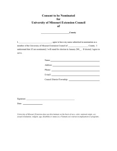 Consent to be Nominated for University of Missouri Extension Council of