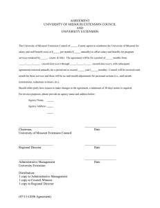 AGREEMENT UNIVERSITY OF MISSOURI EXTENSION COUNCIL AND UNIVERSITY EXTENSION