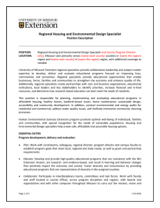 Regional Housing and Environmental Design Specialist  Position Description