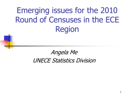 Emerging issues for the 2010 Round of Censuses in the ECE Region