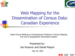 Web Mapping for the Dissemination of Census Data: Canadian Experience