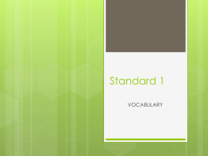 Standard 1 VOCABULARY