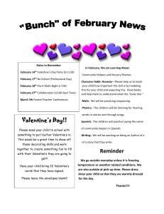 In February, We are Learning About: Valentine's Day Party 10-11:00