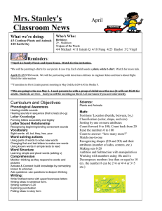 Mrs. Stanley's Classroom News  April