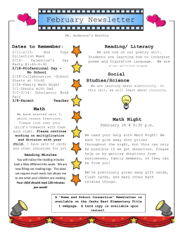 February Newsletter Dates to Remember: Reading/ Literacy