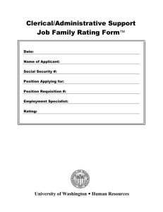 Clerical/Administrative Support  Job Family Rating Form 