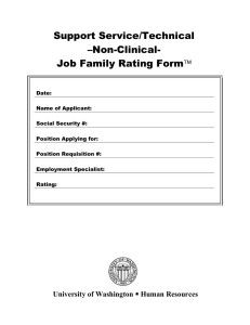 Support Service/Technical –Non-Clinical- Job Family Rating Form