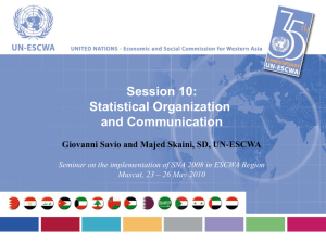 Session 10: Statistical Organization and Communication Giovanni Savio and Majed Skaini, SD, UN-ESCWA