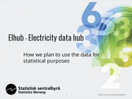 Elhub - Electricity data hub statistical purposes Oslo Group meeting Mexico