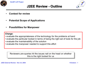 J2EE Review - Outline Context for review Potential Scope of Applications