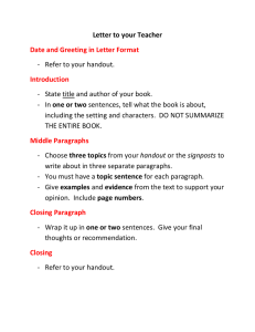 Letter to your Teacher Date and Greeting in Letter Format Introduction
