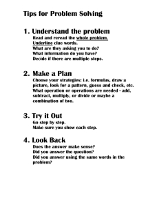 Tips for Problem Solving 1. Understand the problem
