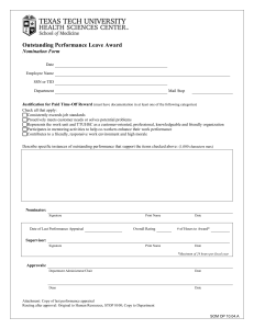 Outstanding Performance Leave Award  Nomination Form
