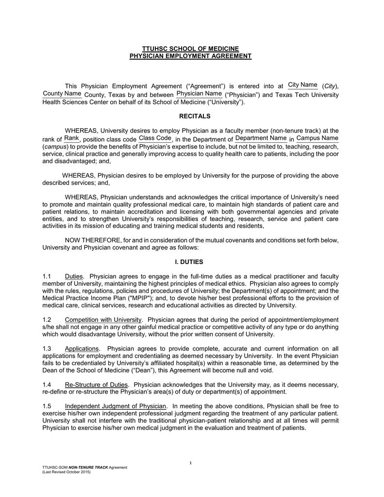 Physician Employment Agreement | Ttuhsc School Of Medicine Physician Employment Agreement City Name