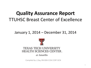 Quality Assurance Report TTUHSC Breast Center of Excellence