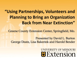 """Using Partnerships, Volunteers and Planning to Bring an Organization"
