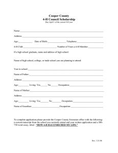 Cooper County 4-H Council Scholarship