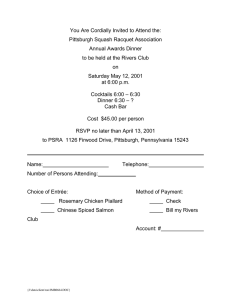 You Are Cordially Invited to Attend the: Pittsburgh Squash Racquet Association