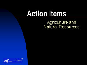 Action Items Agriculture and Natural Resources