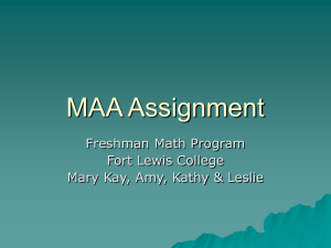 MAA Assignment Freshman Math Program Fort Lewis College