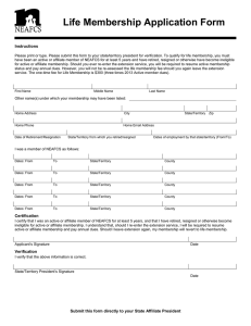 Life Membership Application Form Instructions