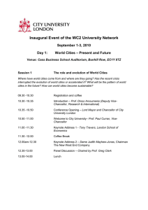 Inaugural Event of the WC2 University Network September 1-3, 2010 Day 1: