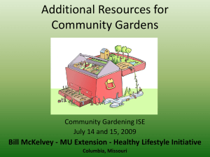 Additional Resources for Community Gardens Community Gardening ISE
