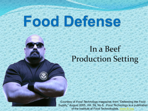 In a Beef Production Setting Food Technology
