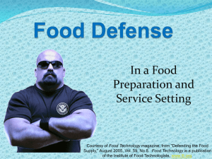 In a Food Preparation and Service Setting Food Technology