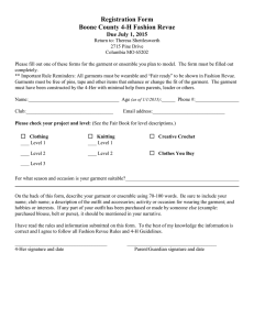 Registration Form Boone County 4-H Fashion Revue Due July 1, 2015