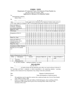 FORM - XXIX Department of Commercial Taxes, Government of Uttar Pradesh