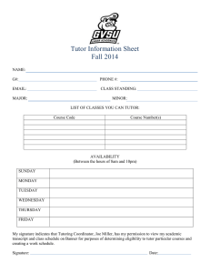Tutor Information Sheet Fall 2014