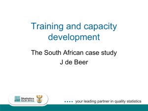 Training and capacity development The South African case study J de Beer