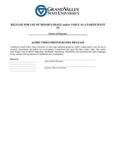 RELEASE FOR USE OF MINOR'S IMAGE and/or VOICE AS A... IN  AUDIO VIDEO PHOTOGRAPHY RELEASE