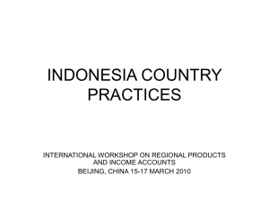 INDONESIA COUNTRY PRACTICES INTERNATIONAL WORKSHOP ON REGIONAL PRODUCTS AND INCOME ACCOUNTS