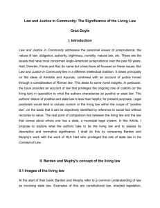 Law and Justice in Community: The Significance of the Living... Oran Doyle I. Introduction