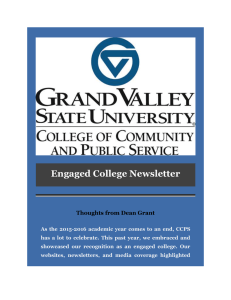 Engaged College Newsletter  Thoughts from Dean Grant