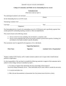 GRAND VALLEY STATE UNIVERSITY  Nomination Form