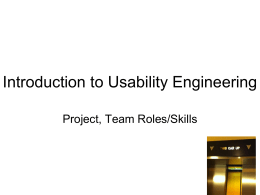 Introduction to Usability Engineering Project, Team Roles/Skills 1