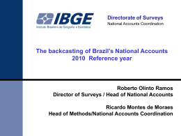 The backcasting of Brazil's National Accounts 2010  Reference year