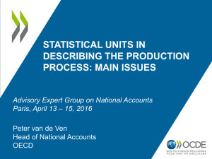 STATISTICAL UNITS IN DESCRIBING THE PRODUCTION PROCESS: MAIN ISSUES Peter van de Ven