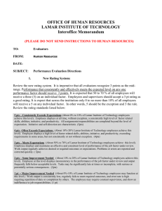 OFFICE OF HUMAN RESOURCES LAMAR INSTITUTE OF TECHNOLOGY Interoffice Memorandum