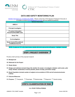 CTSC Clinical & Translational Science Center DATA AND SAFETY MONITORING PLAN