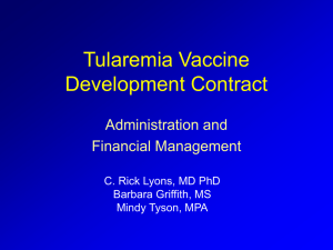 Tularemia Vaccine Development Contract Administration and Financial Management